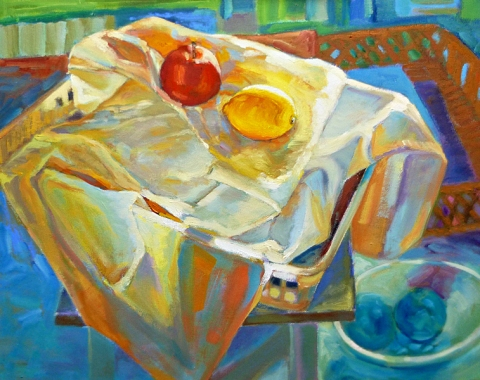 Apple and lemon, oil on canvas board, many versions later